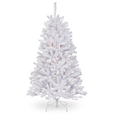 National Tree 4 .5' North Valley White Spruce Tree with Glitter and 250 Clear Lights