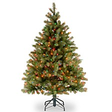 "National Tree 4 .5' ""Feel Real"" Downswept Douglas Fir Hinged Tree with 450 Multi Lights"