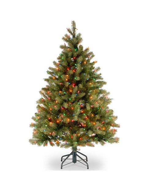 "National Tree Company National Tree 4 .5' ""Feel Real"" Downswept Douglas Fir Hinged Tree with 450 Multi Lights"