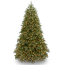"National Tree 7 .5' ""Feel-Real"" Jersey Fraser Medium Fir Hinged Tree with 1000 Warm White LED Lights"