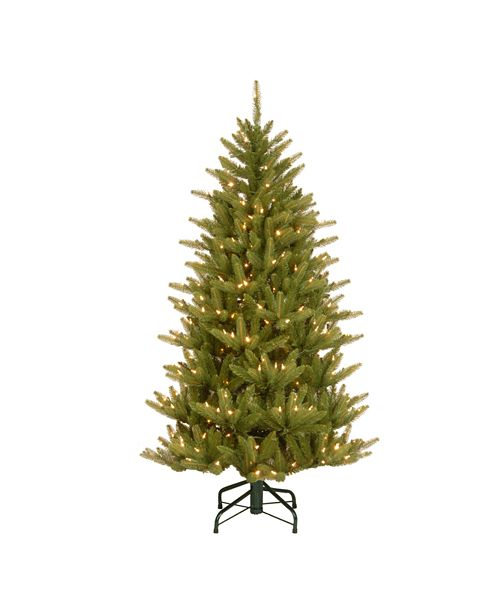 National Tree Company National Tree 4 .5' Feel Real(R) Natural Fraser Slim Hinged Tree with 300 Clear Lights