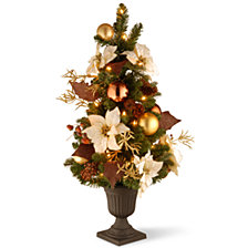 "National Tree Company 3' Decorative Collection Inspired by Nature Entrance Tree in a 9"" Plastic Pot with 50 Clear Lights"
