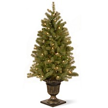 "National Tree 4' ""Feel Real"" Downs-wept Douglas Fir Entrance Tree with 100 Clear Lights Dark Bronze Plastic Pot"