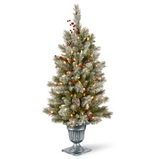 4' Feel Real®  Snowy Bristle Berry Entrance Tree in Silver Brushed Urn with Red Berries, Mixed Cones & 100 Clear Lights