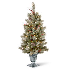 National Tree Company 4' Feel Real®  Snowy Bristle Berry Entrance Tree in Silver Brushed Urn with Red Berries, Mixed Cones & 100 Clear Lights