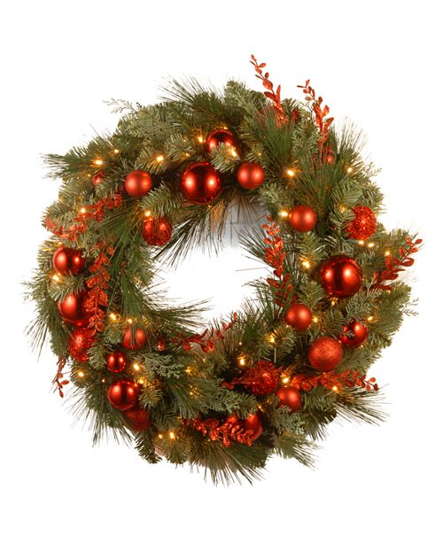 """National Tree Company National Tree 24"""" Decorative Collection Chrisas Red Mixed Wreaths with 50 Soft White Battery Operated LEDs with Timer"""