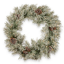"National Tree Company 30"" Feel Real®  Frosted Mountain Spruce Wreath with Cones & 100 Warm White Battery Operated LED Lights w/Timer"