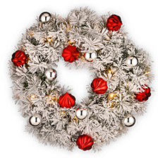 "National Tree Company 24"" Snowy Bristle Pine Wreaths with Red & Silver Ornaments & 50 Warm White Battery Operated LED Lights w/Timer"
