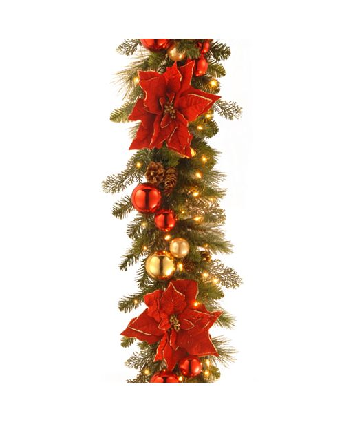 """National Tree Company 9' by 12"""" Decorative Collection Home For the Holidays Garland with 100 Clear Lights"""