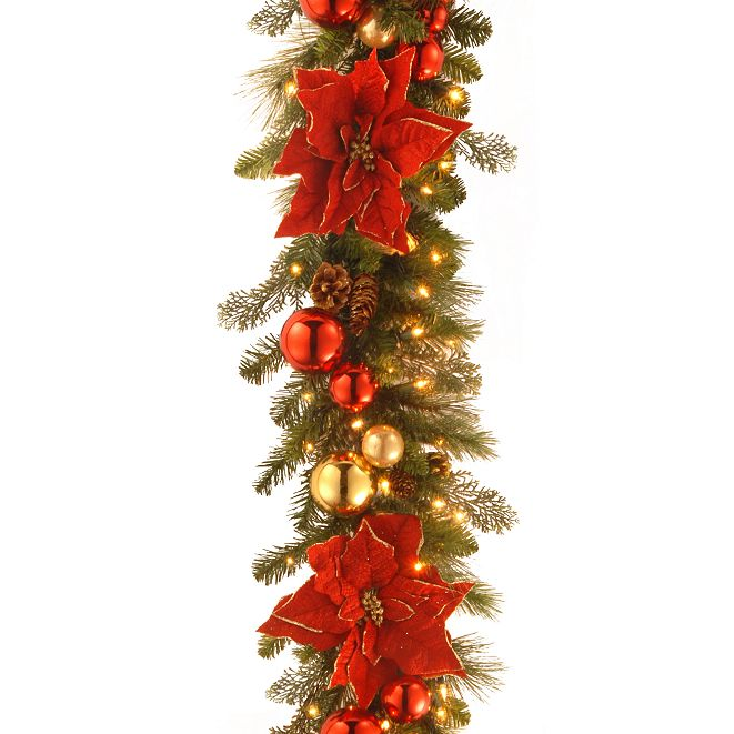 "National Tree Company 9' by 12"" Decorative Collection Home For the Holidays Garland with 100 Clear Lights"