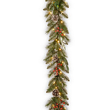 "National Tree Company 9' x 12"" Frosted Pine Berry Collection Garlands w/ Cones, Red Berries, Silver Glittered Eucalyptus Leaves & 70 Clear Lights"