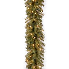 "National Tree Company 9' x 10"" Norwood Fir Garland with 50 Clear Lights"