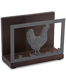 Acacia Wood Rooster Napkin Holder