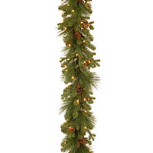 "National Tree Company 9' x 12"" Feel Real(R) Eastwood Spruce Garland with 45 Mixed Cones & 70 Clear Lights"