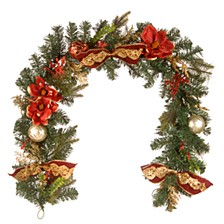 "6'x12"" Decorative Garland with Ornaments & Bows"