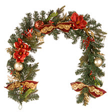 """National Tree Company 6'x12"""" Decorative Garland with Ornaments & Bows"""