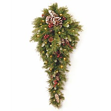 "National Tree 36"" Frosted Berry Teardrop with Battery Operated Warm White LED Lights"