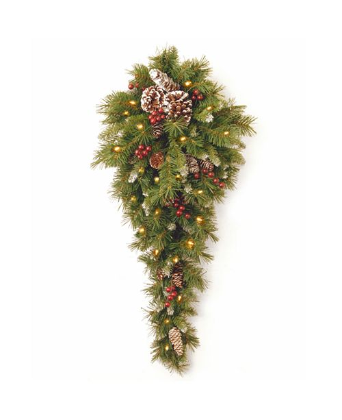 "National Tree Company National Tree 36"" Frosted Berry Teardrop with Battery Operated Warm White LED Lights"