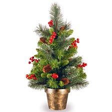 2' Crestwood Spruce Small Tree with Silver Bristle, Cones, Red Berries and Glitter in a Bronze Plastic Pot