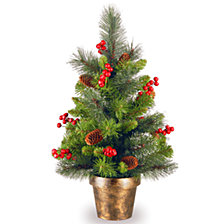 National Tree Company 2' Crestwood Spruce Small Tree with Silver Bristle, Cones, Red Berries and Glitter in a Bronze Plastic Pot