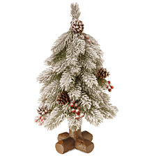 "National Tree Company 18"" "" Feel-Real"" Snowy Bayberry Spruce Tree with Cones and Berries in Cross Faux Wood Base"