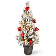 National Tree Company 3' Snowy Bristle Pine Tabletop Trees with Red & Silver Ornaments in a Black/Silver Urn & 50 Warm White Battery Operated LED Lights w/Timer