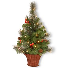 National Tree 3 ft. CrestwoodR Spruce Half Tree with Battery Operated Warm White LED Lights