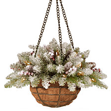 """National Tree Company 20"""" Dunhill Fir Wall Hanging Basket with Snow, 11 Cones, 11 Red Berries & 35 Warm White Battery Operated LED Lights w/Timer"""