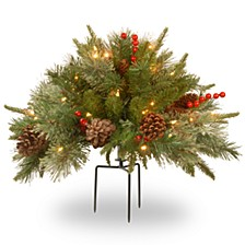 """18"""" Feel Real(R) Colonial Urn Filler with Cones, Red Berries & Tripod Stake & 35 Warm White Battery Operated LED Lights w/Timer"""