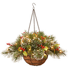 "National Tree 20"" Wintry Pine(R) Hanging Basket with Battery Operated Warm White LED Lights"