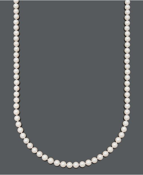 """Belle de Mer Pearl Necklace, 30"""" 14k Gold A+ Cultured Freshwater Pearl Strand (7-1/2-8mm)"""