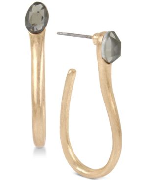 Medium Gold-Tone Stone Sculptural Hoop Earrings in Black Diamond