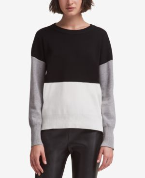 DKNY Colorblocked Sweater, Created For Macy'S in Black And White