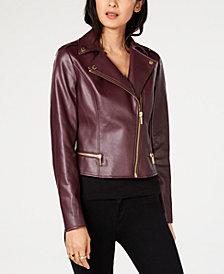 MICHAEL Michael Kors Faux-Fur-Collar Moto Jacket
