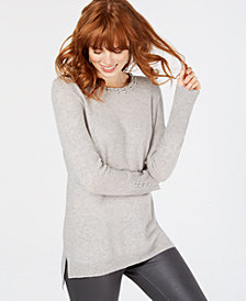 Charter Club Faux-Pearl-Embellished Cashmere Sweater, Created for Macy's
