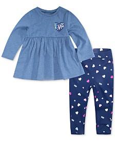 Levi's® Baby Girls 2-Pc. Knit Peplum Top & Printed Leggings Set