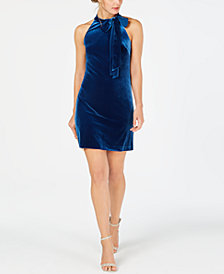 Vince Camuto Tie-Neck Velvet Sheath Dress