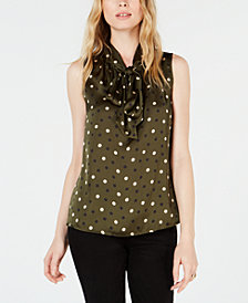 Bar III Sleeveless Printed Bow Blouse, Created for Macy's