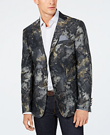 Tallia Men's Slim-Fit Stretch Olive Watercolor Sport Coat