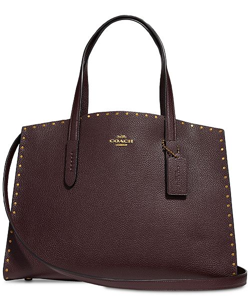 a8fbee53c3bc1 COACH Border Rivets Charlie Carryall in Pebble Leather & Reviews ...