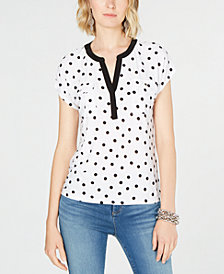 I.N.C. Petite Split-Neck Dot-Print Top, Created for Macy's