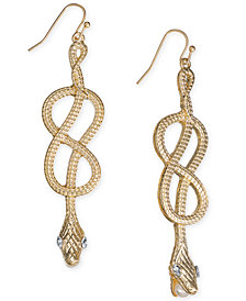 Thalia Sodi Gold-Tone Crystal Accented Snake Drop Earrings, Created for Macy's