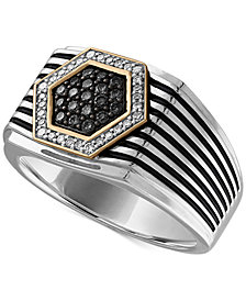 Esquire Men's Jewelry Diamond Two-Tone Ring (3/8 ct. t.w.) in Sterling Silver & 14k Gold, Created for Macy's
