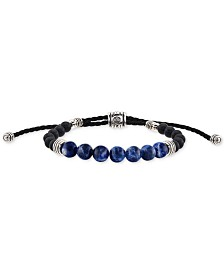 Esquire Men's Jewelry Sodalite (8mm) & Onyx (6mm) Corded Bolo Bracelet in Sterling Silver, Created for Macy's