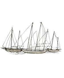Stratton Home Decor Antique Silver Grand Sailboat Wall Decor