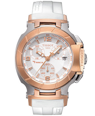 Tissot watch women 39 s swiss chronograph t race white rubber strap t0482172701700 watches for Celebrity tissot watches