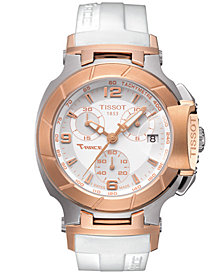 Tissot Watch, Women's Swiss Chronograph T-Race White Rubber Strap T0482172701700