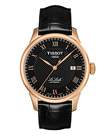 Tissot Men's Swiss Automatic Le Locle Black Leather Strap Watch 39.3mm T41542353