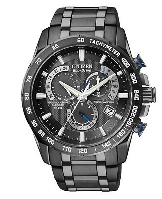 Citizen Men's Chronograph Eco-Drive Gray Ion Plated AT4007-54E