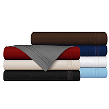 Cathay Home Inc. 3-Line Stripe Embroidery 4-Pc. Sheet Set